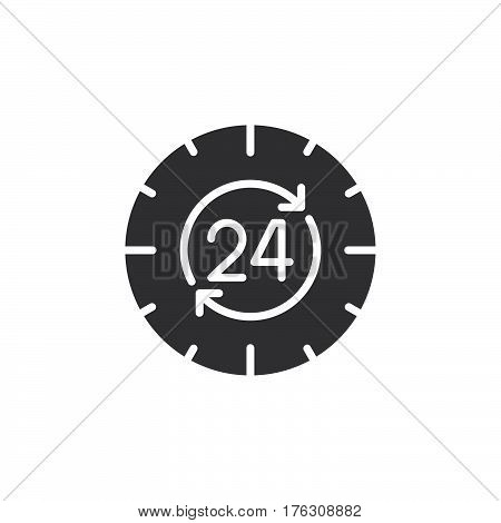24 hours around the clock icon vector filled flat sign solid pictogram isolated on white. Symbol logo illustration