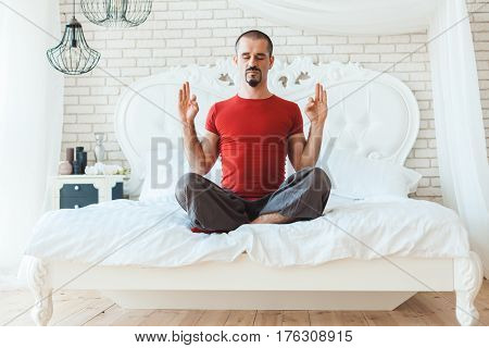 Man meditates on corsi he is in nirvana.