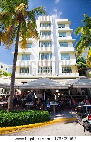 USA, FLORIDA, MIAMI: NOVEMBER 11, 2016. Renovated Hotel in Art Deco architectural district, one of the main tourist attractions in Miami, South Beach