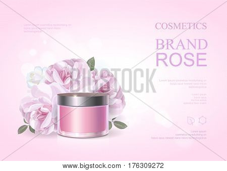 Pink beauty cosmetic product poster, rose moisturizing cream template, skin care ads . Vector illustration.