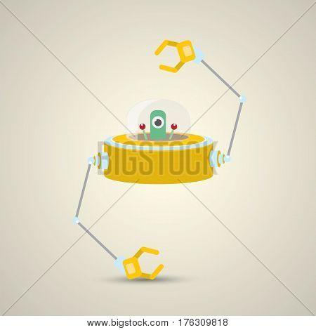 vector flat funny orange alien spaceship logo design template . cartoon ufo alien in space. funny flying saucer