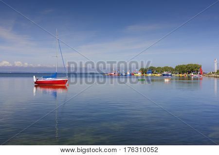 Marina with yacht boats Baltic Sea Poland