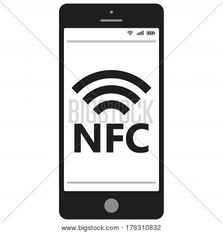 Near field communication, NFC  mobile phone, NFC payment with mobile phone smartphone flat vector icon for apps and websites