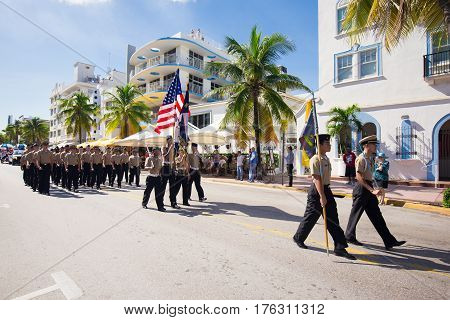 USA, FLORIDA. MIAMI BEACH. NOVEMBER 11, 2016. Veteran's Day Parade on famous Ocean Drive in South Beach, Miami.