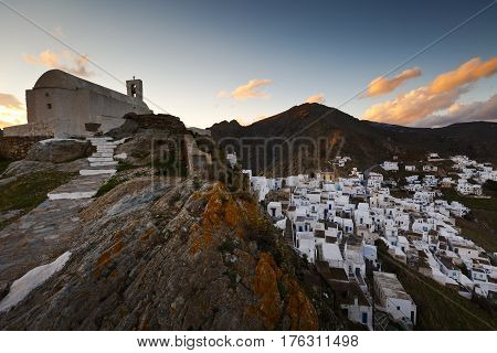 View of Chora village on Serifos island in Greece.
