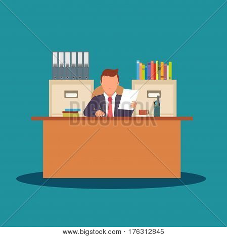 Businessman character working with documents. Business situation. Workplace, office desk. Vector flat stock.
