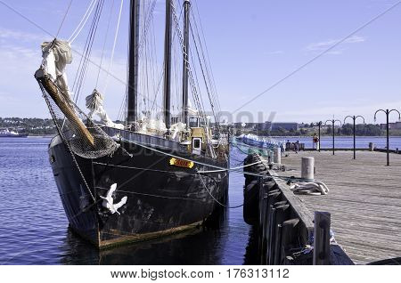 Halifax, Nova Scotia, September 23, 2015 -- Wide view of the nose of the tall ship Silva in the Halifax Harbor on a beautiful bright sunny day in Halifax, Nova Scotia