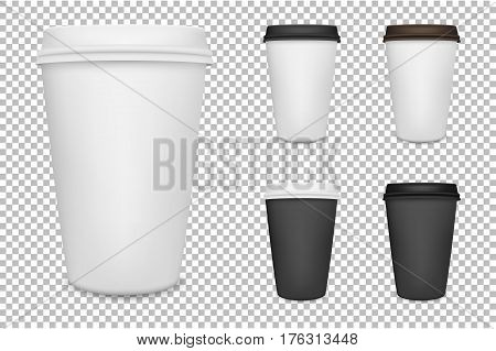Vector realistic blank paper coffee cup set isolated. Vector EPS10 illustration.