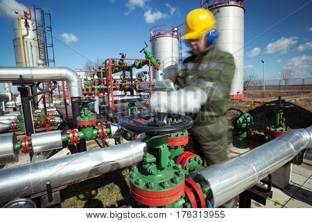 A worker in the oil and gas industry in the workplace