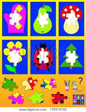 Logic puzzle for children. Need to find corresponding details and to draw them in empty places. Vector  cartoon image.
