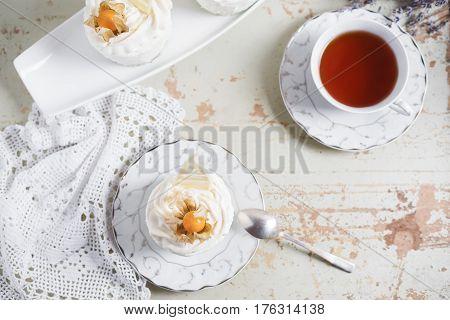 fondant lava cake with strawberries jam. Selective focus. Restaurant dessert menu background.