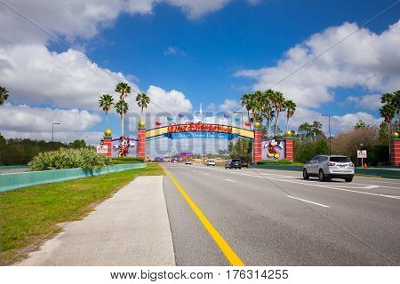 USA. FLORIDA. ORLANDO. MARCH - 11, 2017: Entrance Walt Disney World