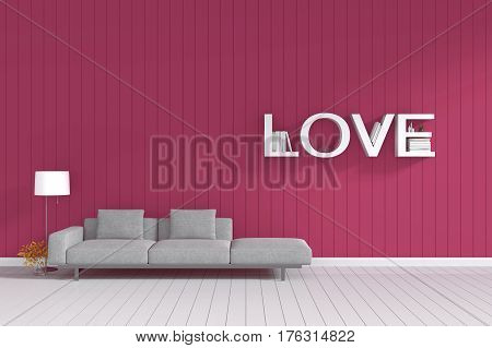 3d rendering : room Minimalist interior light and shadow with Gray fabric long sofa at front of wooden red pink wall and white floor. minimalism style wall background. love couple concept