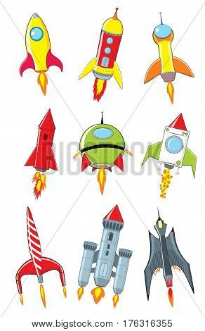 Rocket cartoon set on white background. Vector illustration
