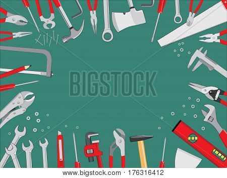 Working tools on green table - do it yourself project background. Vector illustration