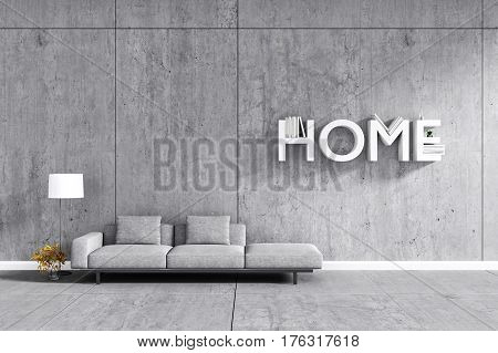 3d rendering : room Minimalist interior light and shadow with Gray fabric long sofa at front of cement concrete wall and floor. minimalism loft style wall background. design your HOME concept
