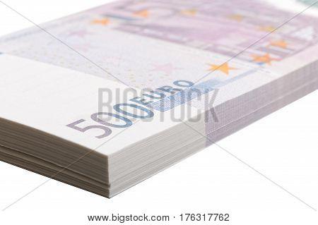 Closeup Bundle Of Denominations Of 500 Euros