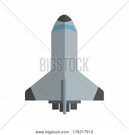 spacecraft icon over white background. colorful design. vector illustration
