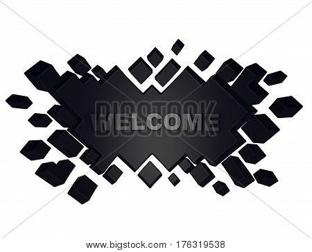 Black welcome geometric background from cubes. 3d rendering