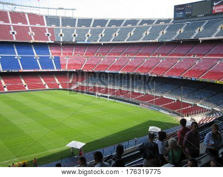 BARCELONA - MAY 13 2016: FC Barcelona in Spanish League Championship and Camp Nou stadium in Barcelona, Spain. Photo taken on: May 13th, 2011