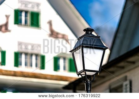 Classic Lantern On The Street Of Little City Schwyz