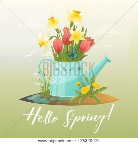 Metal watering can with flowers on soil with puddles. Spring snowdrop and tulip, blowball and dandelion, taraxacum and narcissus or jonquil. Spring and gardening, agriculture and floral theme