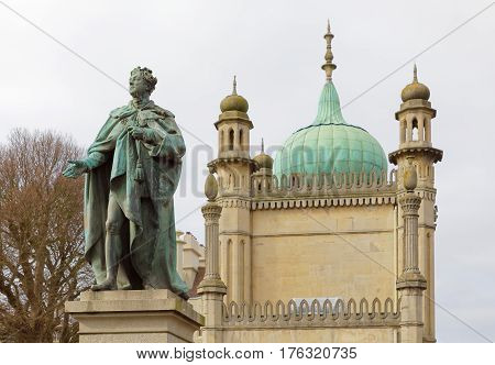 BRIGHTON GREAT BRITAIN - FEB 26 2017: Statue of Prince Georg IV in front of the royal pavilion in Brighton. February 26 2017 in Brighton Great Britain