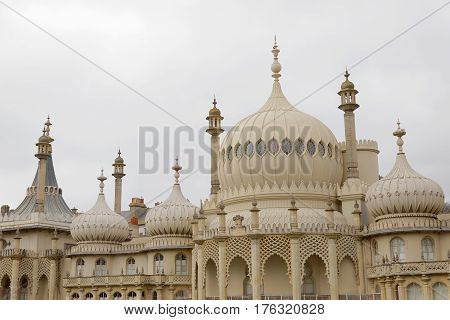 BRIGHTON GREAT BRITAIN - FEB 26 2017: The white royal pavilion in Brighton. February 26 2017 in Brighton Great Britain