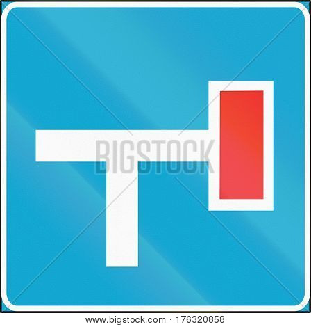 Road Sign Used In Estonia - Dead End On The Right