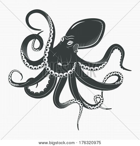 Underwater squid with tentacles or ocean octopus with suction cups. Aquarium spineless monster or mollusk predator, black cartoon octopoda. Seafood mascot or tattoo, biology and swimming life theme