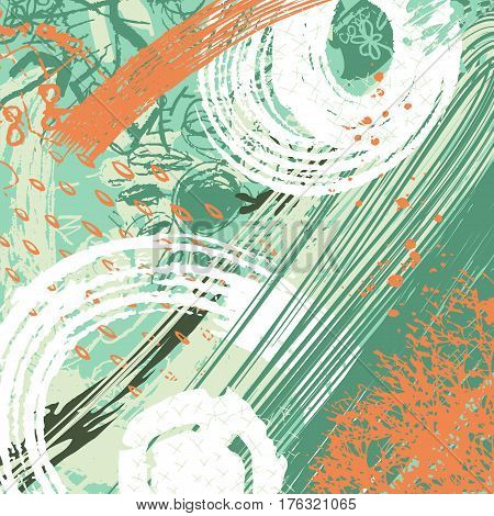 expressive abstact artistic background made in neo-grunge style, hand drawn textures and brushes