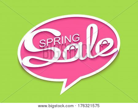 Spring sale. Sale banner with calligraphic inscription in comic speech bubble. Vector illustration made in paper cut out style.