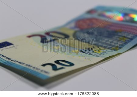 Euro banknote/ These are twenty euro banknotes.