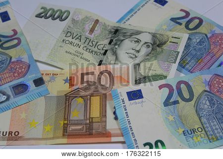 Euro banknote/ These are twenty and fifty Euro banknotes with Czech crown