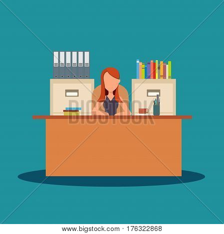 Business woman character working in office. A woman in office sitting at desk. Workplace, office desk. Vector flat stock.