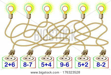 Exercises for children. Need to solve examples and write the answers on the corresponding lamps. Developing skills for counting. Vector image.