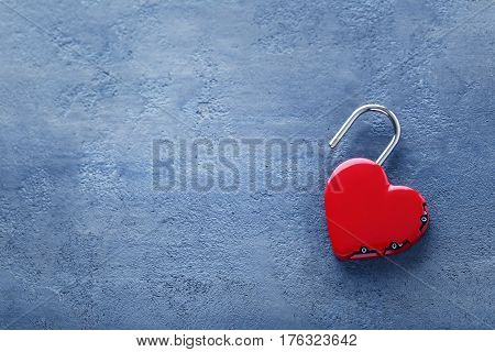 Heart Shaped Padlock On Grey Wooden Table