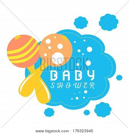Colored baby shower card with a pair of maracas, Vector illustration