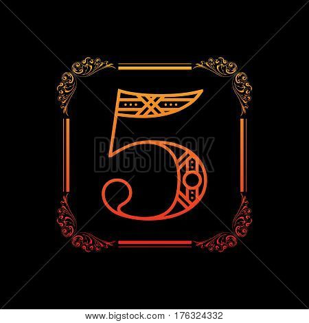 Decorative number 5 with abstract frame isolated on black background