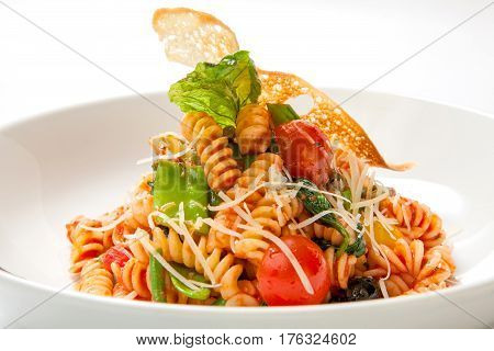 Pasta In Tomato Sauce With Fried Vegetables