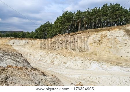 Territory sand quarry which produces raw materials for the production of container glass near the town of Berehove in Ivano-Frankivsk region of Ukraine. March 2007