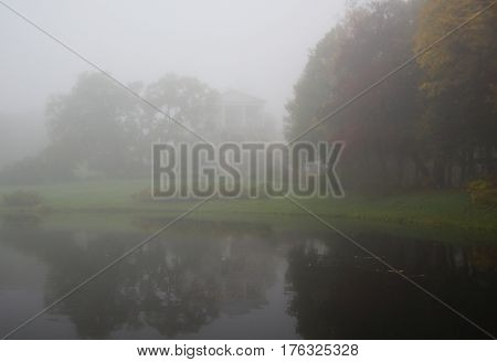 Mist over the water in the Catherine Park in Tsarskoye Selo