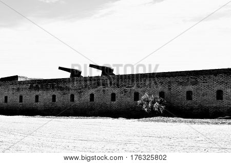 Historical Fort On Beach In Black And White