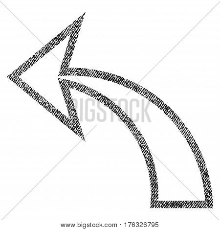 Undo vector textured icon for overlay watermark stamps. Fabric black vectorized texture. Symbol with dust design. Rubber seal stamp with fiber textile structure.
