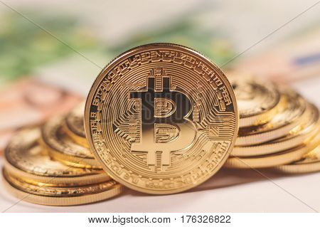 Golden bitcoin Euro background. Bitcoin cryptocurrency.  Bitcoin cryptocurrency.