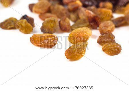 Dried Grape Raisins On A White Background