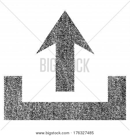 Upload vector textured icon for overlay watermark stamps. Fabric black vectorized texture. Symbol with dirty design. Rubber seal stamp with fiber textile structure.