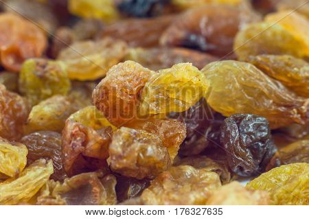 Dried grape raisins background close up, food.