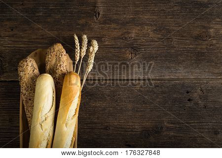 Freshly Baked White And Brown Baguette