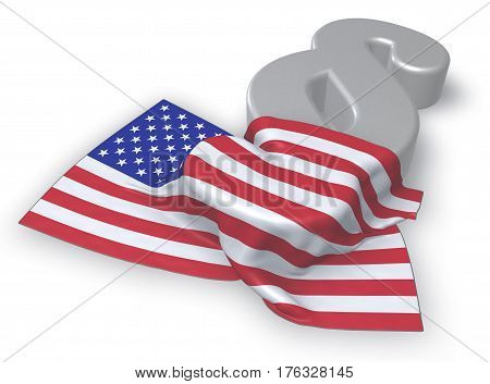 usa flag and paragraph symbol - 3d illustration